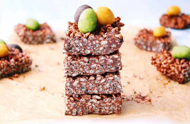 Chocolate Rice Crispy Easter Treats with Marzipan Mini Eggs