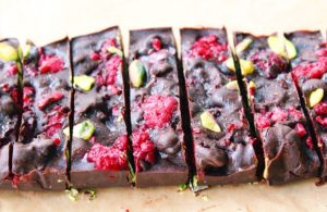 Pistachio + Raspberry Dark Chocolate Fudge