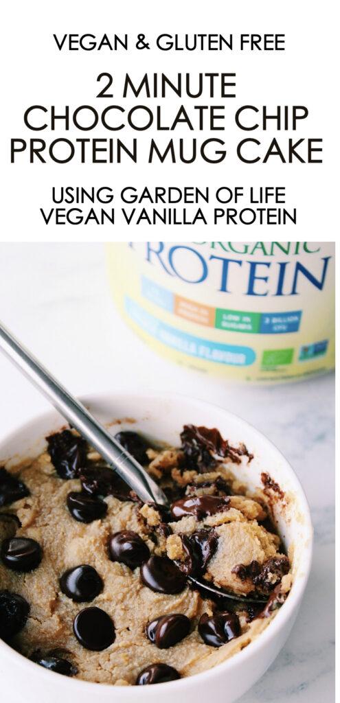 2 minute Chocolate Chip Protein Mug Cake {vegan, gluten free}