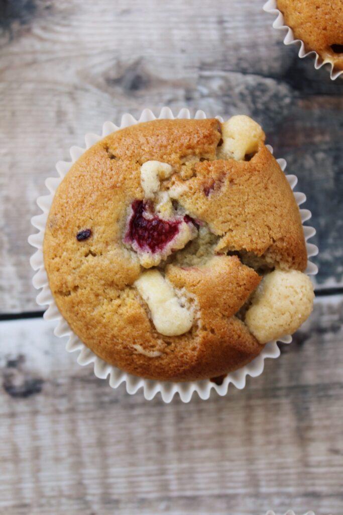 Vegan Raspberry & White Chocolate Muffins